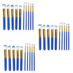 Box Com 3 Kits De Pincéis Kabuki E Precisão Para Maquiagem Azul