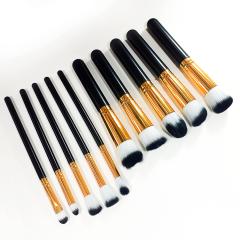 Box Com 3 Kits De Pincéis Kabuki E Precisão Para Maquiagem Preto