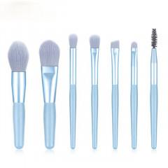 Kit 8 Mini Pincéis Para Maquiagem Fosco - Azul